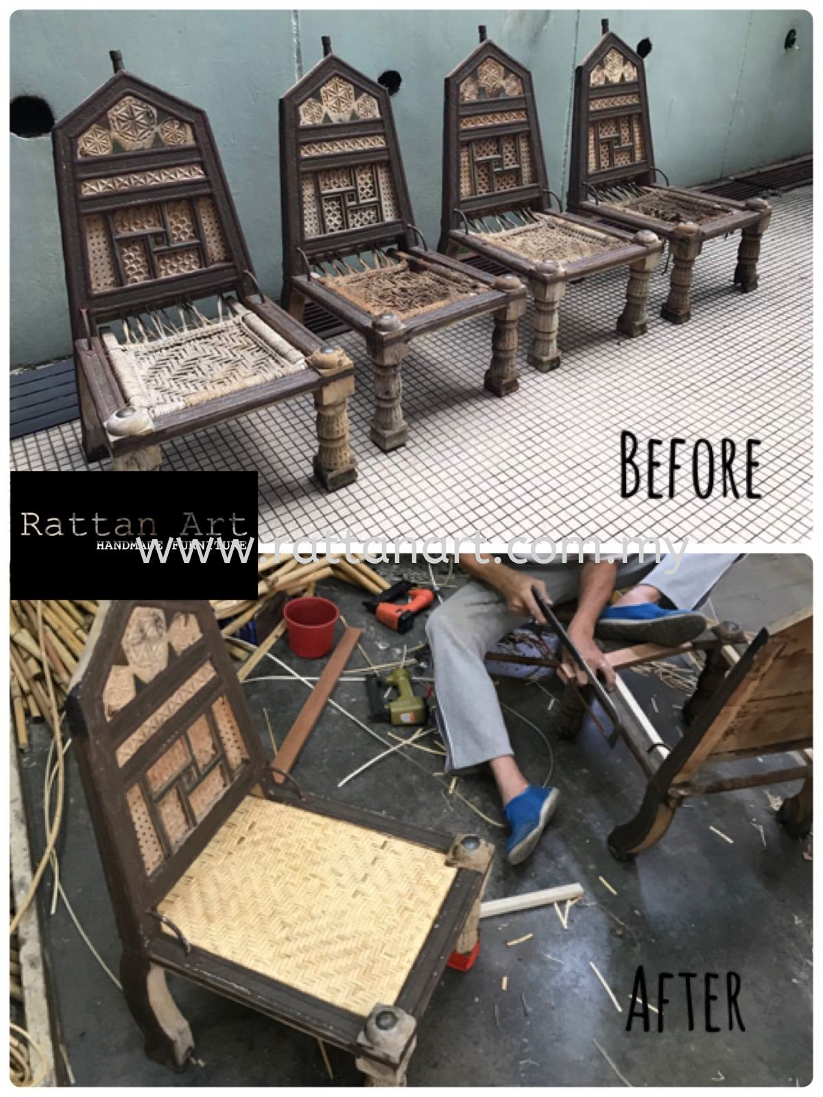 Repair Wooden Chair With Rattan Weave