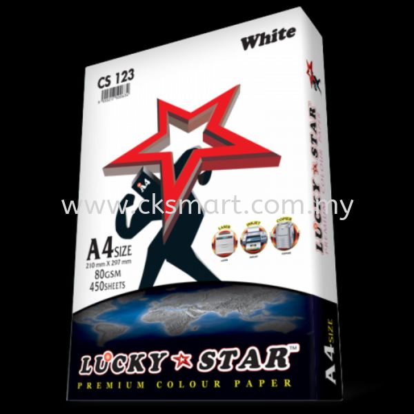 LUCKY STAR COLOUR PAPER A4 80GSM CS 123 - WHITE  A4 Color Paper Paper Products Johor Bahru (JB), Malaysia, Skudai Supplier, Suppliers, Supply, Supplies | CK Smart Trading
