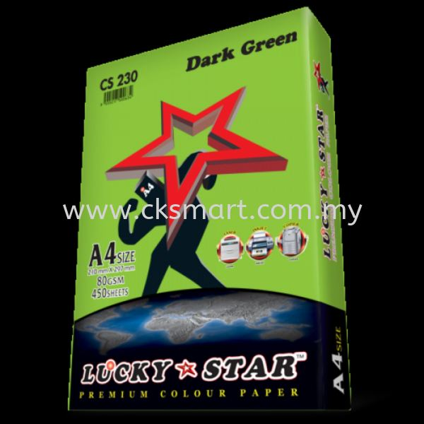 LUCKY STAR COLOUR PAPER A4 80GSM CS 230 - DARK GREEN  A4 Color Paper Paper Products Johor Bahru (JB), Malaysia, Skudai Supplier, Suppliers, Supply, Supplies | CK Smart Trading