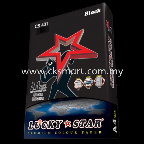 LUCKY STAR COLOUR PAPER A4 80GSM CS 401 - BLACK  A4 Color Paper Paper Products Johor Bahru (JB), Malaysia, Pekan Nanas, Skudai Supplier, Suppliers, Supply, Supplies | CK Smart Trading