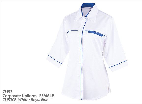 CU5308 White/Royal Blue CU53-Female Corporate Uniforms Selangor, Malaysia, Kuala Lumpur (KL), Klang Supplier, Suppliers, Supply, Supplies | Zings Apparel Sdn Bhd