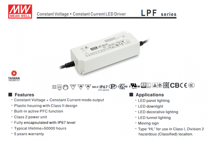 MW MEAN WELL LPF CONSTANT VOLTAGE IP67 LED DRIVER OR POWER SUPPLY