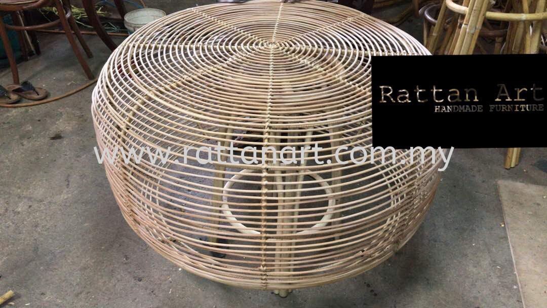 Custom Made Rattan Coffee Table With Metal Structure