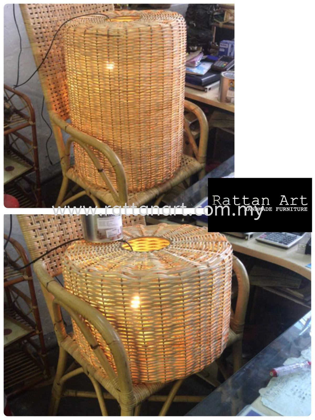 Custom Made Rattan Pendant Light