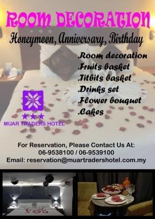 Room Decoration for Honeymoon, Anniversary or Birthday at Muar Traders Hotel