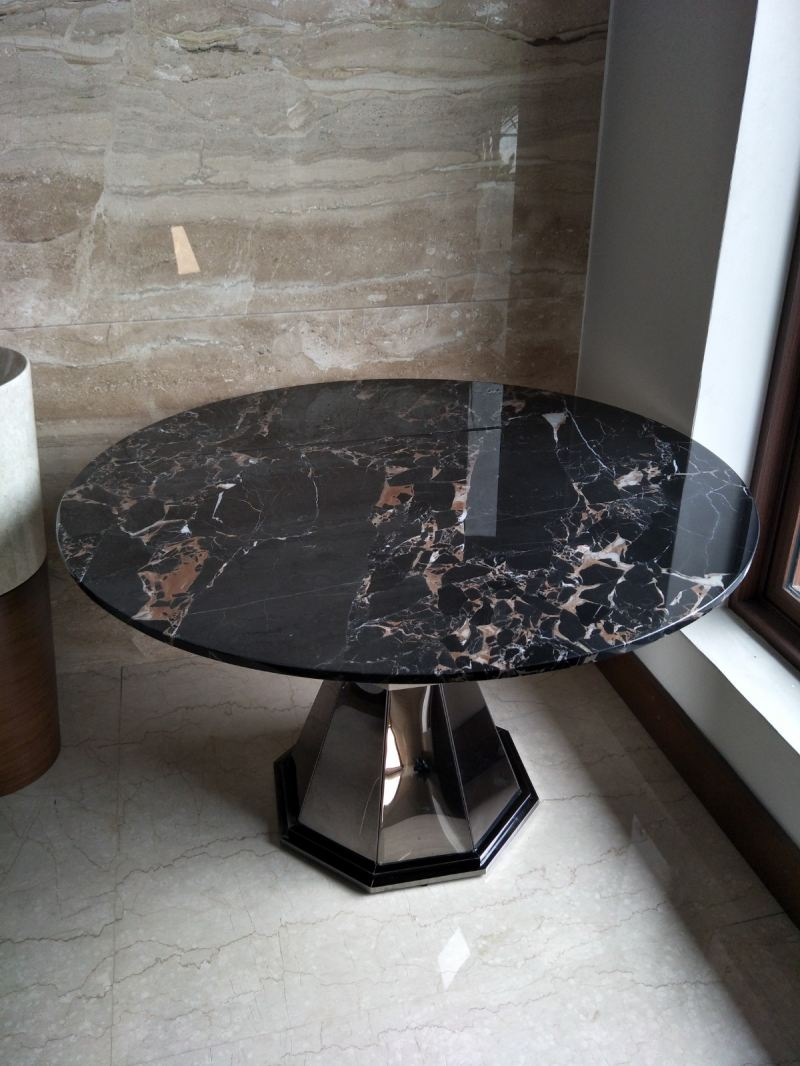 Black Marble Dining Table - Portoro Gold Marble