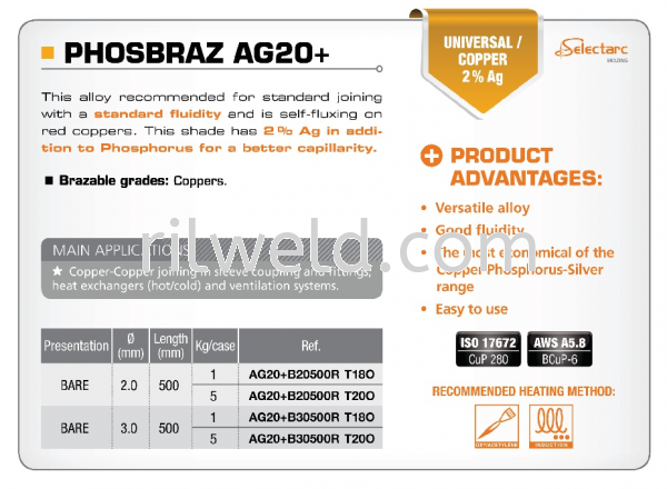 PHOSBRAZ AG20+ COPPER - PHOSPHORUS - SILVER ALLOYS SELECTARC ESSENTIALS Selangor, Malaysia, Kuala Lumpur (KL), Puchong Supplier, Distributor, Supply, Supplies   RIL Weld Industry Sdn Bhd