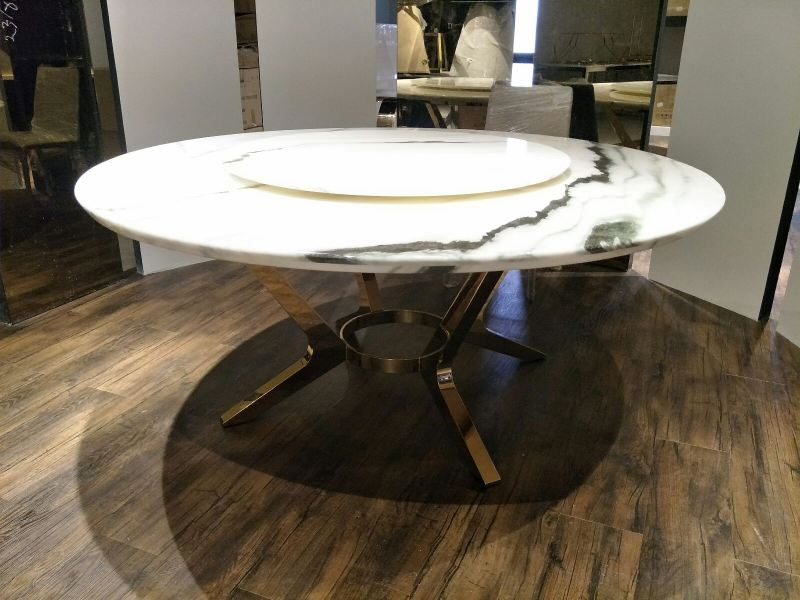 White Marble Round Dining Table Panda