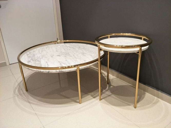 White Marble Coffee Table Set - Statuario Marble