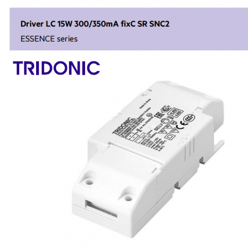 TRIDONIC Driver LC 15W 300/350mA fixC SR SNC2 ESSENCE series (for downlight use)