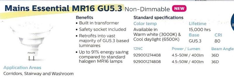 Main Essential MR16 GU5.3 (Non-Dimmable) LED Spots LED Lighting Kuala Lumpur (KL), Malaysia, Selangor, Taman Desa Supplier, Suppliers, Supply, Supplies | Champion Power Electrical Sdn Bhd