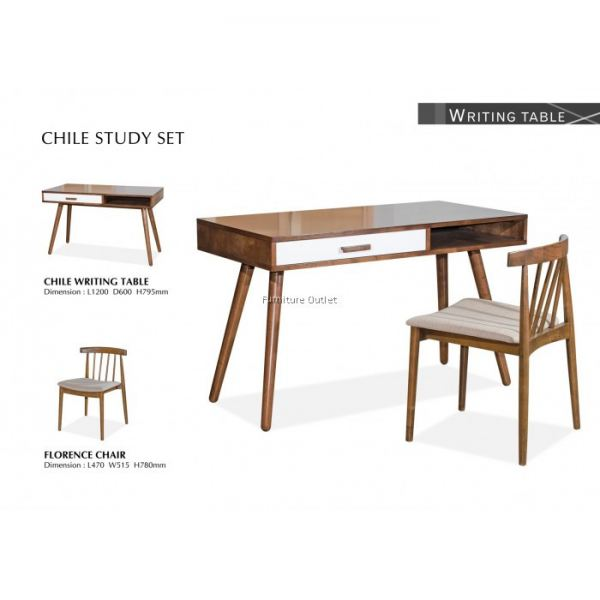 CHILE WRITING TABLE WITH FLORENCE CHAIR MALAYSIA STUDY SET OFFICE & STUDY FURNITURE Malaysia, Johor, Muar Supplier, Suppliers, Supply, Supplies | Scandinavian Furniture Outlet