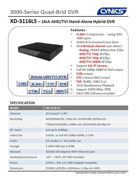 Cynics 2MP 16ch DVR XD3116LS Digital Video Recorder (DVR) CCTV System Perak, Ipoh, Malaysia Installation, Supplier, Supply, Supplies | Exces Sales & Services Sdn Bhd