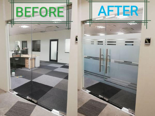 3) Before & After Frosted Office Glass Frosted Glass Door Kuala Lumpur (KL), Selangor, Malaysia. Installation, Supplier, Specialist | Savgard Windscreen & Tint Specialist