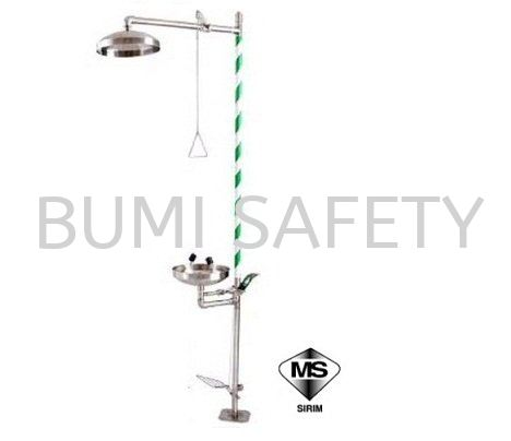 Shower and Eyewash with Stainless Steel Bowl and Foot Pedal Emergency Response, Eyewash / Shower Selangor, Kuala Lumpur (KL), Puchong, Malaysia Supplier, Suppliers, Supply, Supplies | Bumi Nilam Safety Sdn Bhd
