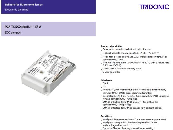 TRIDONIC PCA 2X18/24 TCL/PLC/PLL ECO C DALI DIMMABLE EB 22185258