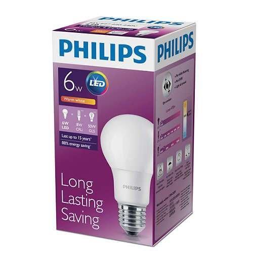 PHILIPS BRIGHT COMFORT 6W LED BULB Warm White (3000k)