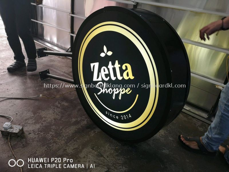 Zetta Cafe Round Shape Signboard at setia alam Round Shape Light Box Selangor, Malaysia Supply, Manufacturers, Printing | Great Sign Advertising (M) Sdn Bhd