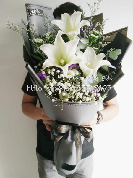 HB005 Lily Hand Bouquet Hand Bouquet Penang, Butterworth, Malaysia Supplier, Suppliers, Supply, Supplies | HL Florist & Gift