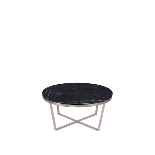 Round Marble Coffee Table - Black Marquina Marble