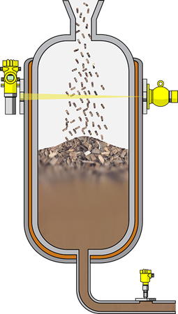 Level detection and pressure measurement in the digester