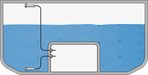 Pressure and level measurement in the ballast water tanks of heavy lifters (Flo-Flo ship)
