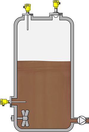 Level measurement and point level detection in an intermediate storage tank