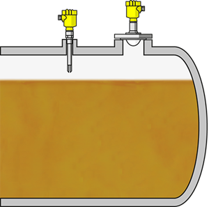 Level measurement and point level detection in tanks for liquid fuels