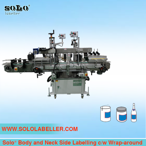 Side Labelling c/w Wrap-around Body and Neck Labelling Machine Customized Labelling Selangor, Malaysia, Kuala Lumpur (KL), Puchong Machine, Manufacturer, Supplier, Supply | Solo Labelling Sdn Bhd