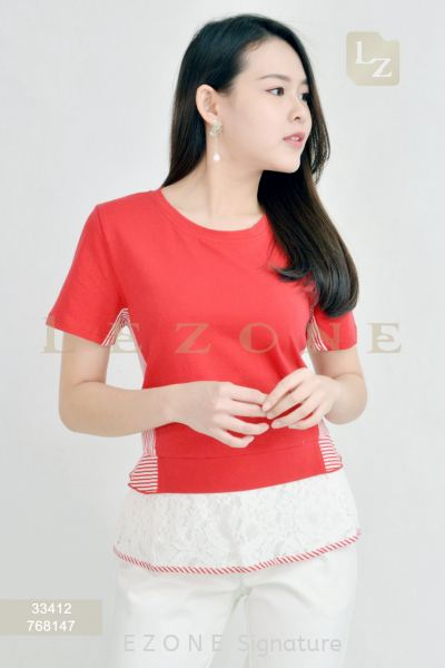 33412 PLUS SIZE A-LINE LACE DETAIL BLOUSE¡¾1ST 40% 2ND 50%¡¿ Top On Sale S A L E  Selangor, Kuala Lumpur (KL), Malaysia, Serdang, Puchong, Cheras Supplier, Suppliers, Supply, Supplies | LE ZONE Signature