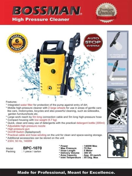 Bossman 1400W High Pressure Cleaner Water Jets Sprayer B-PC-1070   Pressure Washer (Electric & Gasoline & Petrol)  Water Pump Seri Kembangan, Selangor, Kuala Lumpur (KL), Kajang, Malaysia Supply Supplier Suppliers | Knight Auto Sdn Bhd