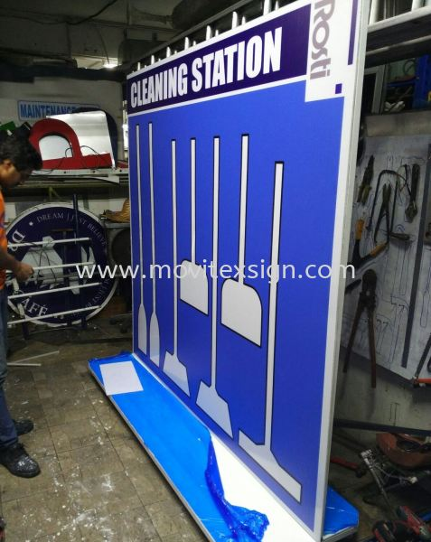 Cleaning station in the factory made of heavy duty matel structure n Design printed UV color (click for more detail) safety sign Industry Safety Sign and Symbols Image Johor Bahru (JB), Johor, Malaysia. Design, Supplier, Manufacturers, Suppliers | M-Movitexsign Advertising Art & Print Sdn Bhd
