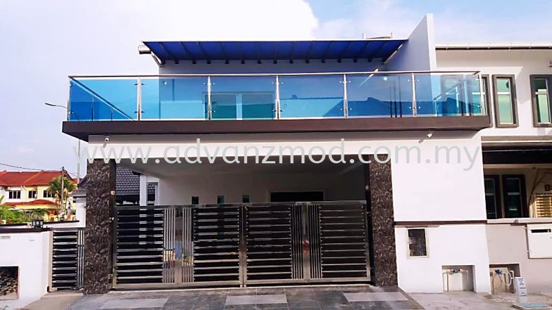 Stainless Steel Balcony Railing With 12mm Tempered Blue Glass  Stainless Steel Glass Railing Selangor, Malaysia, Kuala Lumpur (KL), Puchong Supplier, Supply, Supplies, Retailer | Advanz Mod Trading