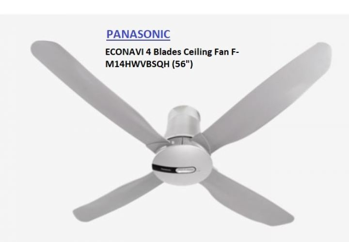 "Panasonic Fan Econavi 56"" 4 Blade Ceiling Fan F-M14HWVBSQH"