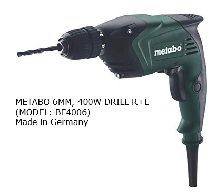 METABO 6MM, 400W DRILL R+L, BE4006 (GERMANY) DRILL POWER TOOLS Singapore, Kallang Supplier, Suppliers, Supply, Supplies | DIYTOOLS.SG