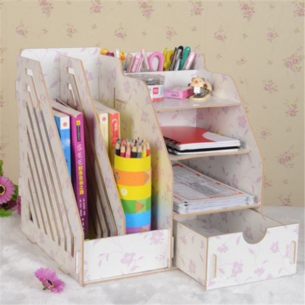 Double Grid Wooden Office Table Organizer Document Rack with Drawer (Flower Pink) Organizer Office Furniture Malaysia, Selangor, Kuala Lumpur (KL) Supplier, Suppliers, Supply, Supplies   Like Bug Sdn Bhd