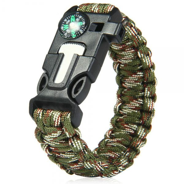 5 in 1 Outdoor Survival Paracord Bracelet-Flint Starter, Compass, Whistle, Paracord Rope (Camouflage Green) Hardware & Fitness Malaysia, Selangor, Kuala Lumpur (KL) Supplier, Suppliers, Supply, Supplies | Like Bug Sdn Bhd