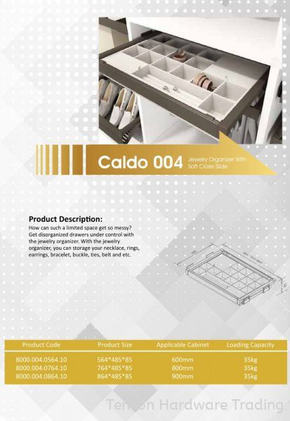 CALDO 004 JEWELRY ORGANIZER WITH SOFT CLOSE SLIDE 8000 SERIES CALDO WARDROBE ACCESSORIES Lufi Wardrobe Series Penang, Malaysia, Butterworth Supplier, Suppliers, Supply, Supplies | Tencon Hardware Trading