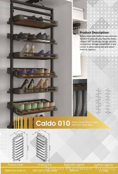 CALDO 010 ROTARY SHOE RACK 8 LAYER WITH SOFT CLOSE SLIDE 8000 SERIES CALDO WARDROBE ACCESSORIES Lufi Wardrobe Series Penang, Malaysia, Butterworth Supplier, Suppliers, Supply, Supplies | Tencon Hardware Trading
