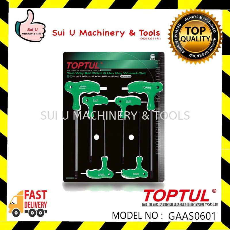 Toptul GAAS0601 Two Way Ball Point and Hex Key Wrench Set 6pcs