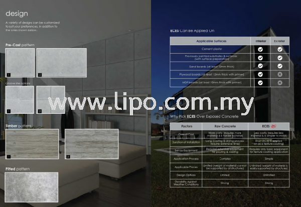 Design Effect System Exposed Concrete Johor Bahru JB Malaysia Supplier & Supply | Lipo Spray Coating Services