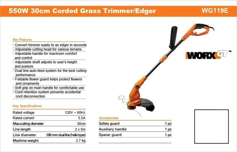 WORX GRASS TRIMMER WG-118E