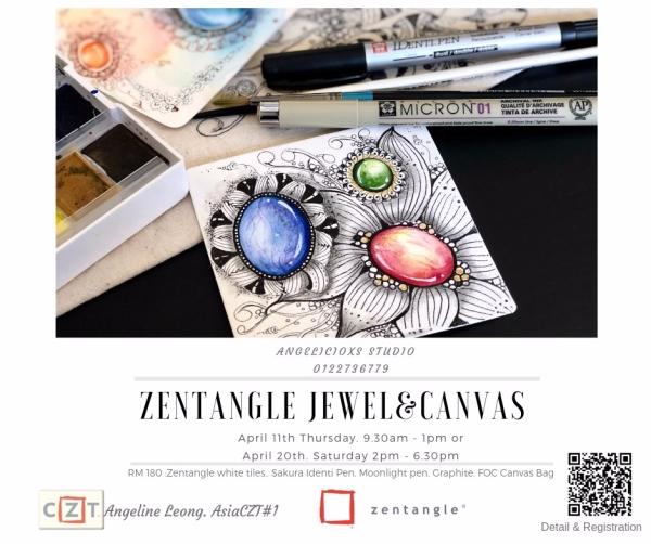 Zentangle Jewel & Canvas Zentangle Workshops  Zentangle Kuala Lumpur (KL), Malaysia, Selangor, Danau Desa Class, Lesson, Workshop   Angelicioxs Studio