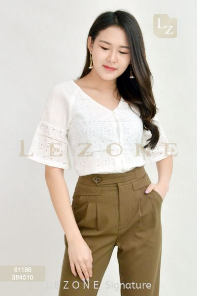 61186 LACE V-NECK BLOUSE¡¾2ND 50%¡¿ Top On Sale S A L E  Selangor, Kuala Lumpur (KL), Malaysia, Serdang, Puchong, Cheras Supplier, Suppliers, Supply, Supplies | LE ZONE Signature