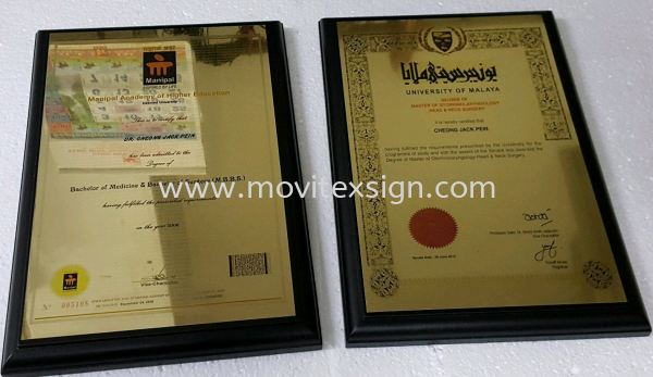 certificate plaque sign with solid wood base Ceremonial Plaque Johor Bahru (JB), Johor, Malaysia. Design, Supplier, Manufacturers, Suppliers | M-Movitexsign Advertising Art & Print Sdn Bhd