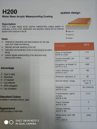 20kg H200 water base Acrylic Waterproofing membrane Hot selling now !  RM 185