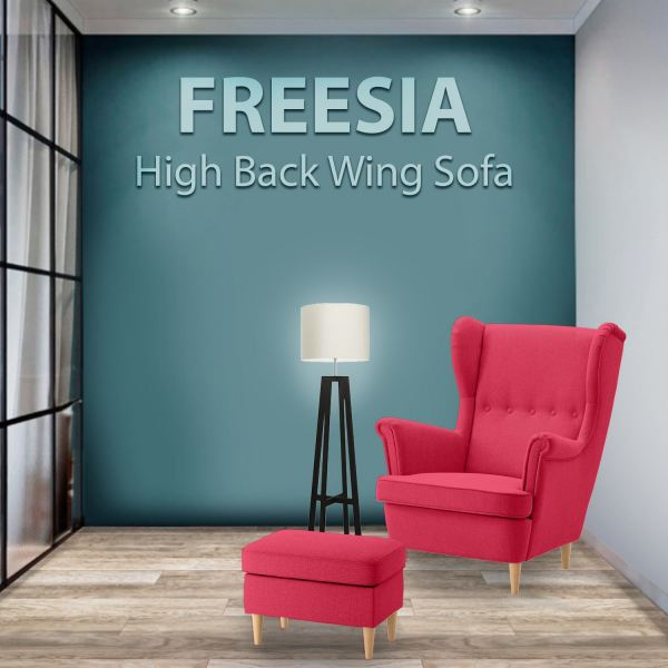FREESIA Canvas High Back Wing Chair with Stool (Red) Sofa Home & Living Malaysia, Selangor, Kuala Lumpur (KL) Supplier, Suppliers, Supply, Supplies | Like Bug Sdn Bhd