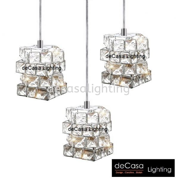 CRYSTAL SQUARE CUBE WITH BASE HX-CUBE-SQ/3 Modern Contemporary Design PENDANT LIGHT Selangor, Kuala Lumpur (KL), Puchong, Malaysia Supplier, Suppliers, Supply, Supplies | Decasa Lighting Sdn Bhd