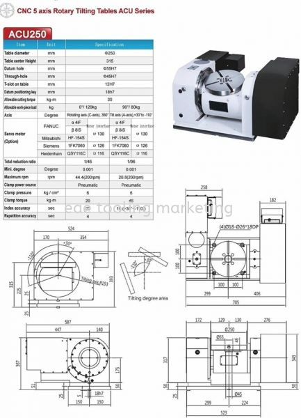 DEX- CNC 5 axis Rotary Tilting Tables ACU250 Index Table  Selangor, Malaysia, Kuala Lumpur (KL), Klang Supplier, Suppliers, Supply, Supplies | EAE Tooling Marketing Sdn Bhd