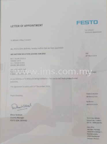 iMS appointed as FESTO Distributor